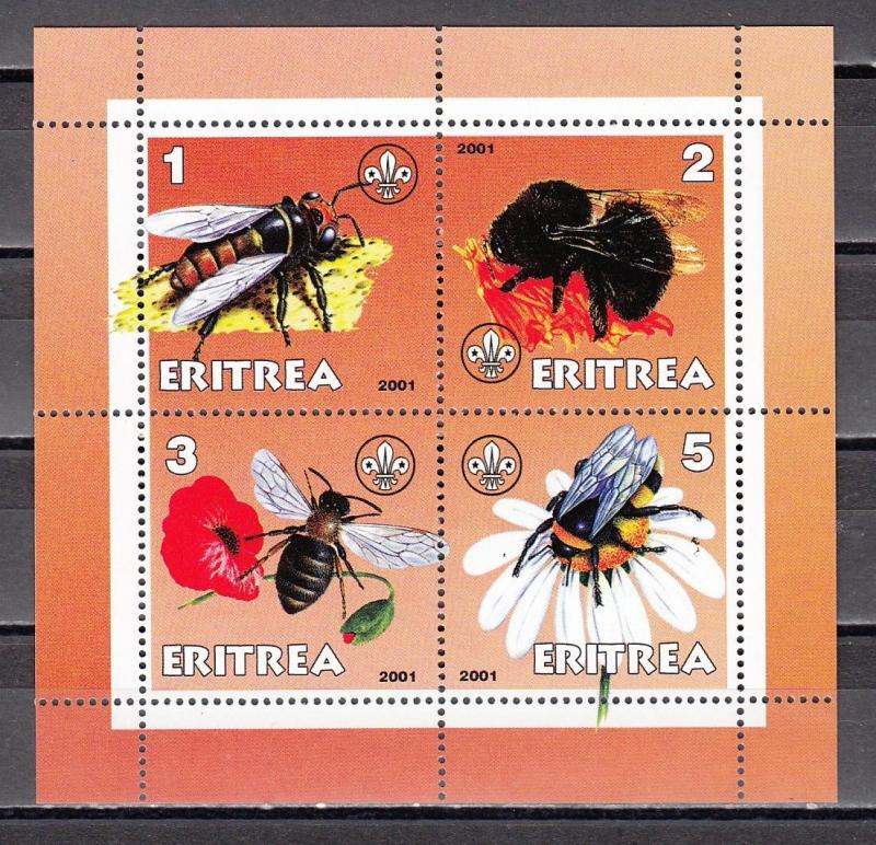 Eritrea, 2001 Cinderella issue. Bees on a sheet of 4.