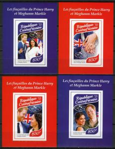 Central African Rep 2017 MNH Prince Harry & Meghan 4x 1v IMPF S/S Royalty Stamps