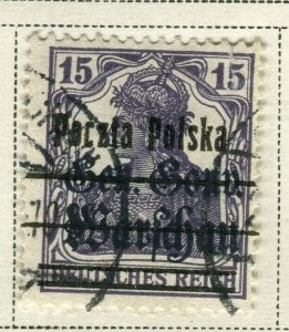 POLAND; 1918 early classic Germania Optd. issue fine used 15pf. value