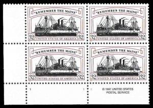 PCBstamps    US #3192 PB $1.28(4x32c)Remember/Maine, MNH, (PB-3)