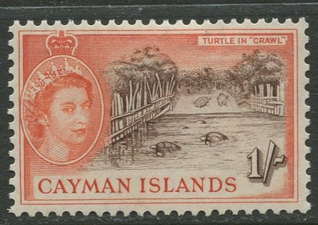 Cayman Islands - Scott 145 - QEII Definitive -1953-59 - MH- Single 1/- Stamp
