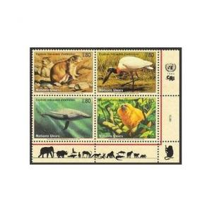 UN Geneva 249a,MNH. Endangered Species-1994:Blue Whale,Mexican prairie dog,Lion,