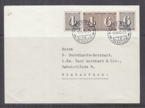 SWITZERLAND, 1943 Zurich Stamp Centenary pair & pair from Souvenir Sheet cover.