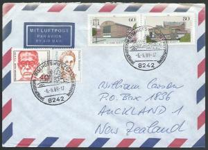 GERMANY 1989 airmail cover to New Zealand - nice franking..................11246