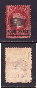 St. Helena-Sc#28-used 4p on 6p carmine-1882-