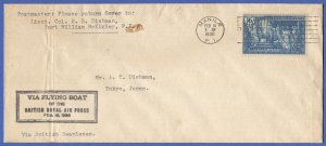 PHILIPPINES 1936 Sc 399 Used on  British Flying Boat Seaplane cover to Japan