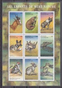 Central Africa, Scott cat. 1389. Various Mammals sheet of 9. ^