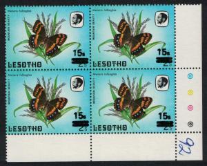 Lesotho Butterfly Mountain Beauty 1v Overprint Bottom Corner block of 4 SG#725