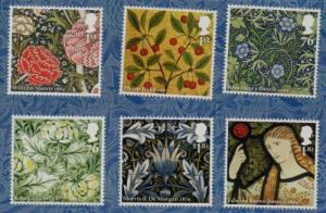 Great Britain Sc 2902-7  2011 William Morris & Co. stamp set mint NH