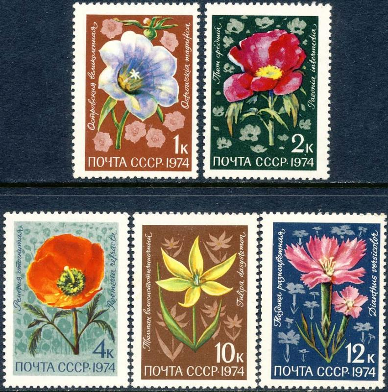 Russia 1974 Sc 4269-73 National Flower Flora Stamp MDG