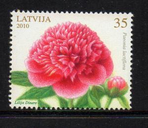 Latvia Sc 757 2010 Flowers Peonies stamp mint NH