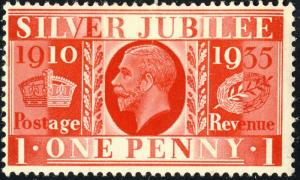 GB - 1935 - SG 454 1d scarlet KGV Jubilee Issue - M/M*