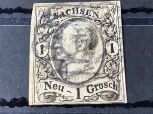 Saxony 1855 Grid Number cancel 14 for Bautzen  Stamp 57192