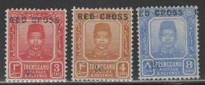 Malaya Trengganu Scott B1-B3 MH*1917 Red Cross set