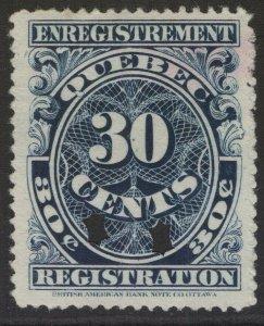 CANADA REVENUE QR20 1912 30c QUEBEC REGISTRATION STAMP USED