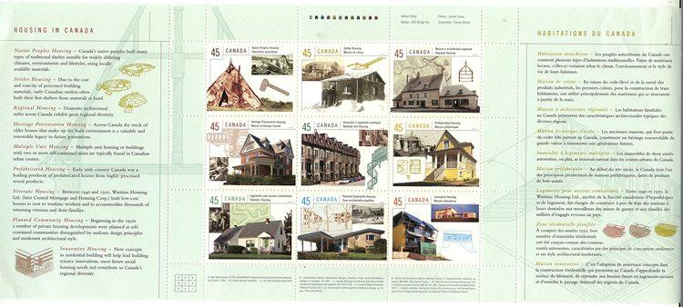 Canada - #1755 Mint 1998 Housing in Canada Pane of 9 VF-NH