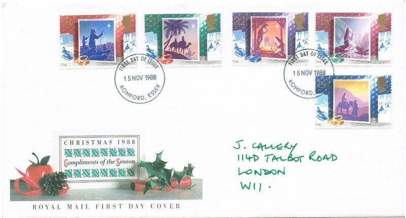 GB 1988 FDC -  CHRISTMAS - ROMFORD, ESSEX CANCELLATION