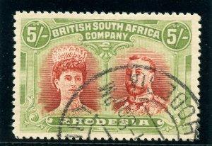 Rhodesia 1910 KGV Double Head 5s crimson & yellow-green VFU. SG 160a. Sc 115.