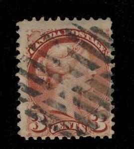 CANADA -1870 - SG 79 3c INDIAN RED - USED SUPERB MUTE CANCEL