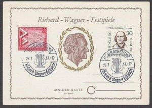 GERMANY 1954 Richard Wagner commem card used - nice franking................B339