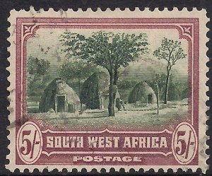 South West Africa 1931 KGV 5/-d Herero Huts used SWA SG 83 ( J1433 )
