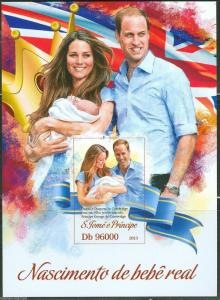 SAO TOME BIRTH OF PRINCE GEORGE S/S WITH KATE AND PRINCE WILLIAM MINT NH IMPERF