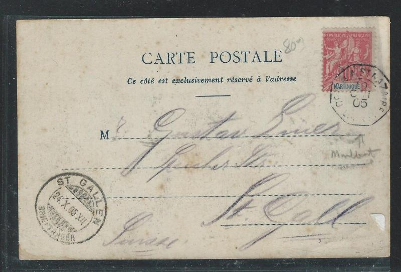 MARTINIQUE (PP0309B) 1905 PPC, FRENCH MARITIME CANCEL TO SWITZERLAND