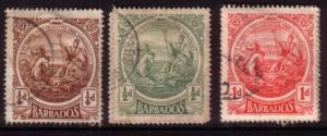 Barbados  #127-29 (U)  CV $1.30