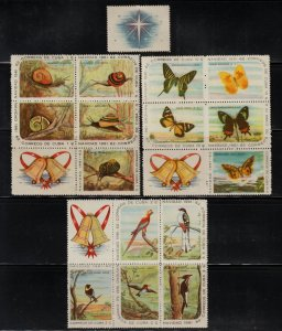 1961 Cuba Stamps Christmas Snails, Butterflies and Birds Complete Set  MNH