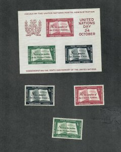 United Nations Sc#35-37, 38 M/NH/VF, S/S, Cv. $51.75