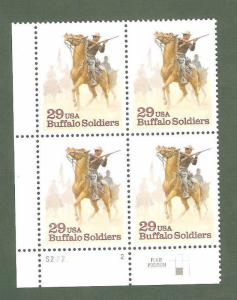 2818 Buffalo Soldiers Plate Block Mint/nh (Free Shipping)