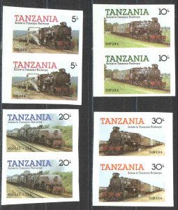 Tanzania Sc# 271-274 MNH pair IMPERF (ERROR) 1985 5sh-30sh Locomotives