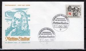 Germany, Scott cat. 917. Poet M. Claudius issue. First day cover. Owl in design.