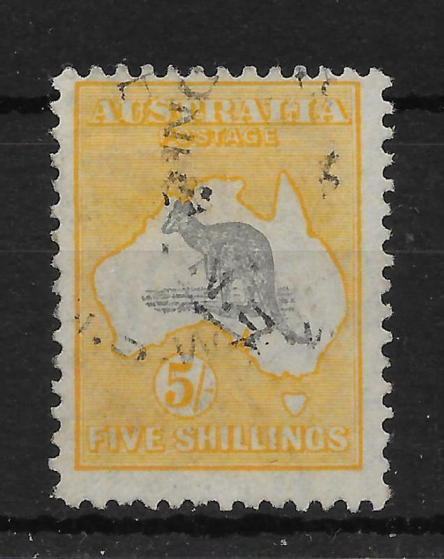 AUSTRALIA SG111 1929 5/= GREY & YELLOW USED