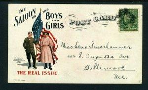 1909 Temperance Anti-Saloon League POST CARD - NICE!!!!