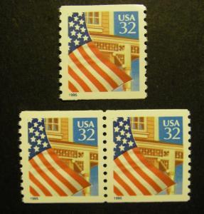 Scott 2914, 32c Flag over Porch, Pair & Single, MNH Coil Beauties