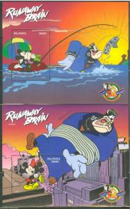 UGANDA DISNEY SCOTT#1554/55   RUNAWAY BRAIN  SET OF SOUVENIR SHEETS MINT NH