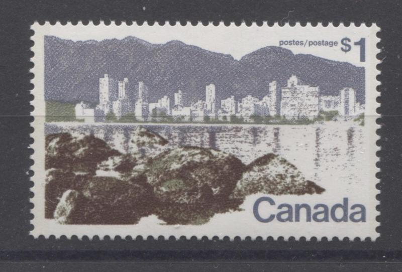 Canada #599aiii $1 Vancouver P.13.3 Dk Brown Rocks DF/LF Paper Type 1 VF-80 NH