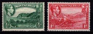 Montserrat 1938-48 George VI Definitives, ½d & 1d, perf 13 [Unused]