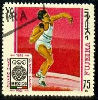 Shot Put, 1968 Summer Olympics, Mexico City, Fujeira stamp