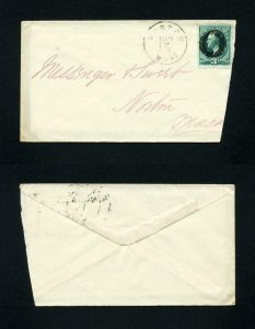 Cover from Boston, Mass. to Norton, Massachusetts dated 1-12-1870's
