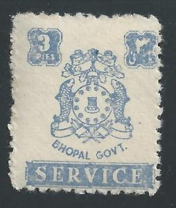 India - Feudatory States - Bhopal #O46 3p Coat of Arms - MNH