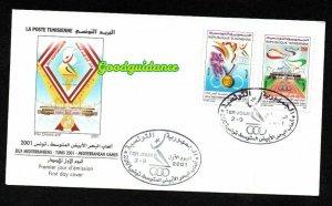 2001- Tunisia - 2001 Mediterranean Games, Tunis - FDC rare
