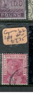 CAYMAN ISLANDS (P1812B) QV  1D SG 22    VFU  ANTIQUE OVER 100 YEARS OLD