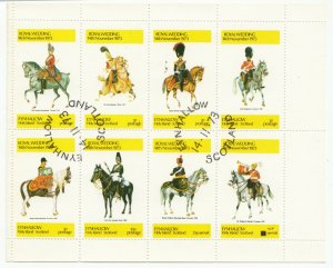 Eynhallow, Holy Island, Royal Wedding Sheetlet, 1973 CTO, Cavalry Uniforms