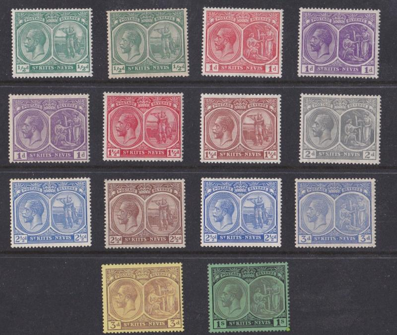 ST KITTS NEVIS 1921 - 29  S G 37 - 46B  VARIOUS VALUES TO 1/-  MH  CAT £58