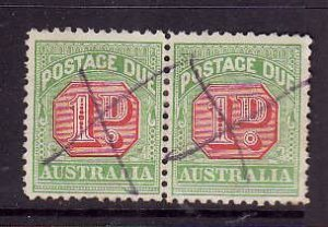 Australia-Sc#J40-used pair 1p Postage Due-1909-23-