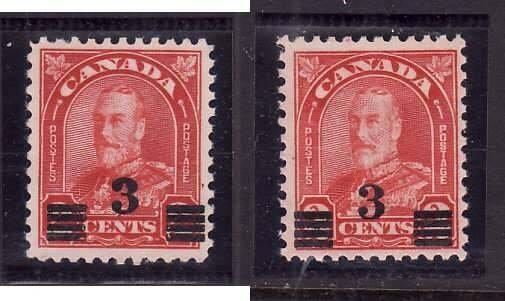 Canada-Sc#191,191a- id5-Unused NH og 3c on 2c KGV Provisional-Dies I & II-1932-