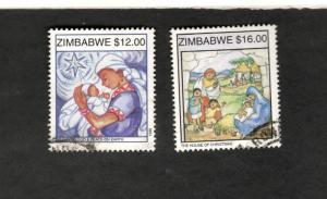1999 Zimbabwe SC #835-36 CHRISTMAS used stamps