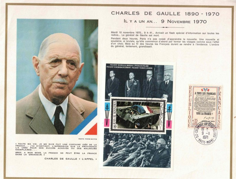 United Arab Mirates - Charles de Gaulle deathday 1971 2 items